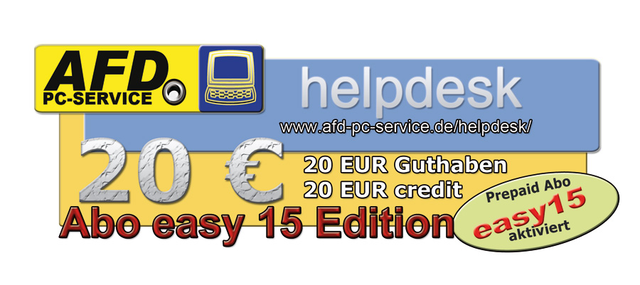 20 EUR Guthaben + Abo helpdesk easy15 aktiv
